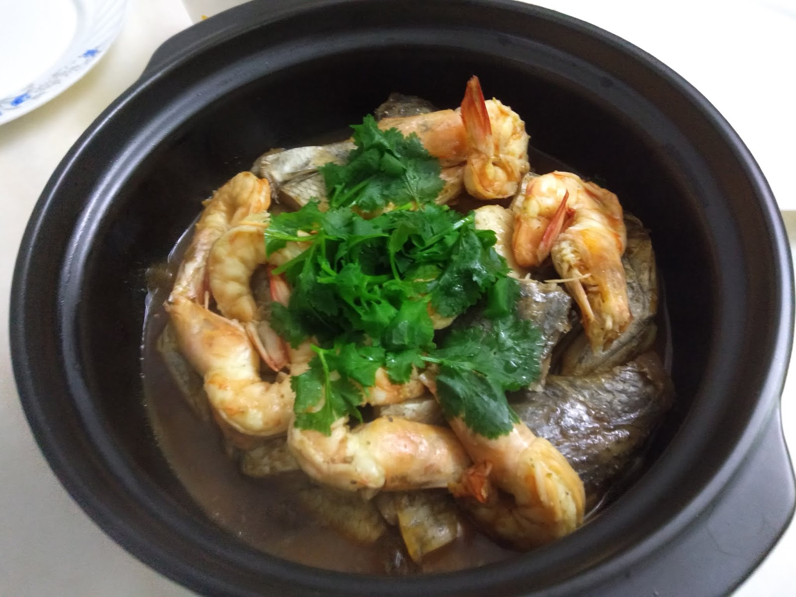 My Cooking Recipe : Braised Fish Head & Prawn In Claypot