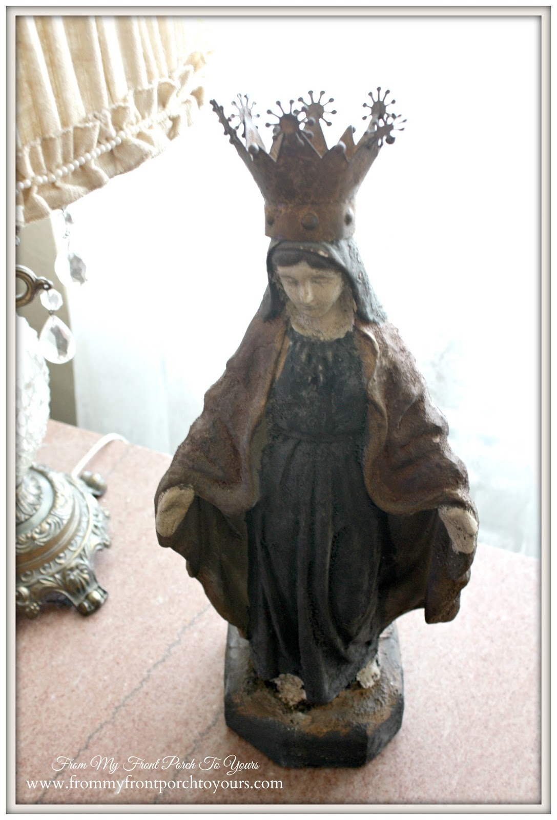 Creative Co-Op Mary Statue with crown used to create a French Farmhouse vignette at From My Front Porch To Yours.