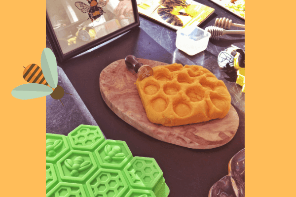 bees tuff tray - honeycomb playdough and mould for open ended play