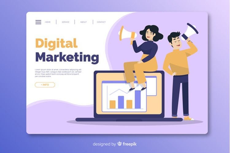 Download Wallpaper Flat Marketing Landing Page Template Free Vector