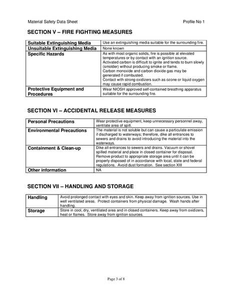Material Safety Data Sheet (MSDS) Karbon Aktif Calgon CarbSorb 30