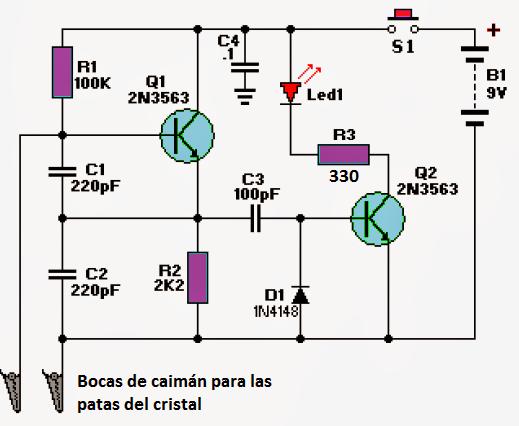 diagrama de un tester para comprobar el cristal oscilador de cuarzo