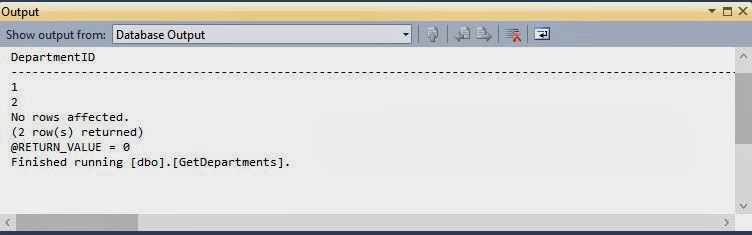 Computer Programming : Output window of stored Procedure