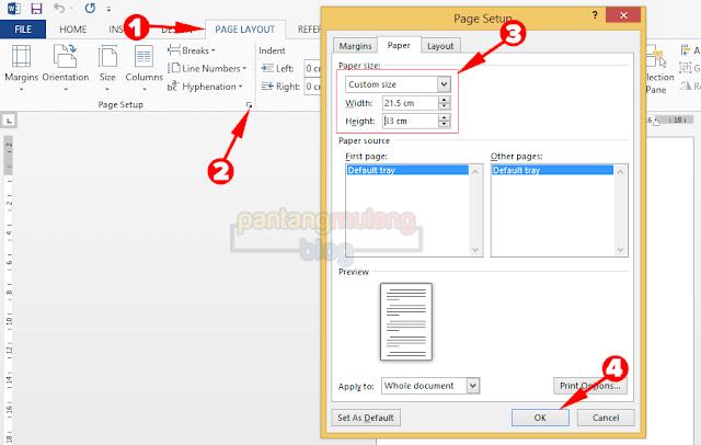 Mengatur Ukuran Halaman Kertas F4 di Microsoft Word
