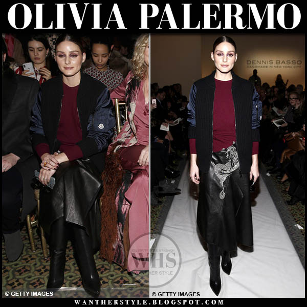 Olivia Palermo in black knit moncler cardigan jacket, burgundy sweater and black leather silver detail dennis basso midi skirt fashion week outfits february 2019