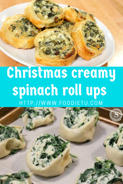 Christmas creamy spinach roll ups