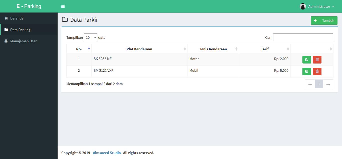 Aplikasi Parkir Menggunakan PHP MySQL