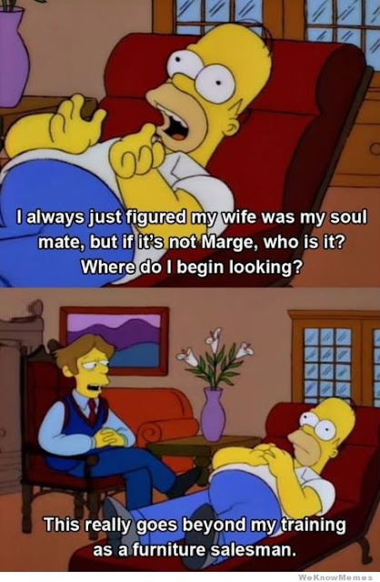 Homer talking to a furniture salesman as his therapist