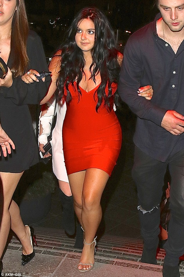 Ariel Winter is red hot and curvy in a bodycon dress for night out with friends