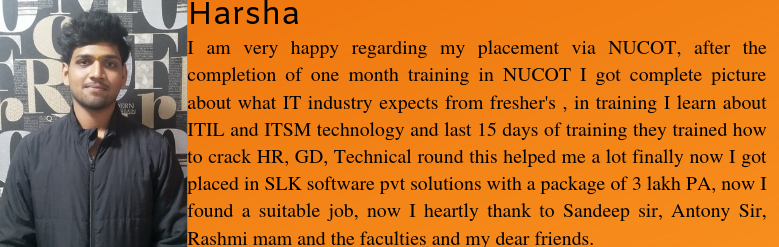 Harsha got placed as a Software Trainee