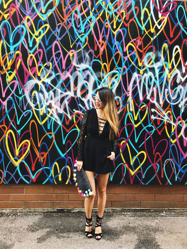 Chicago Heart Mural Amp Black Romper Red Soles And Red Wine