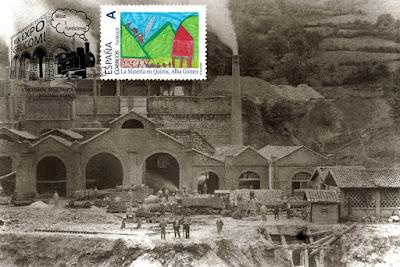 Tarjeta con matasellos y sello personalizado de la vieja Fábrica de Fundiciones de Quirós