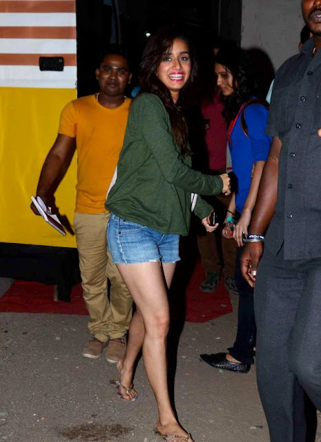 Shraddha Kapoor Looks hot in Shorts and Green T-shirt at Mehboob Studios