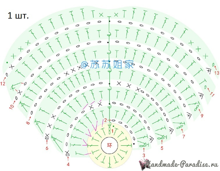 Схемы вязания листьев монстеры (3)