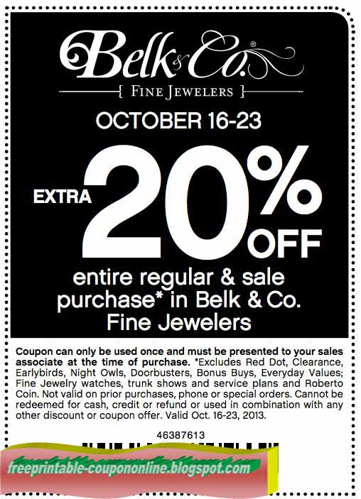 Belk coupon codes