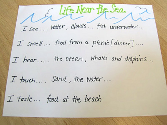 beach descriptive writing activity