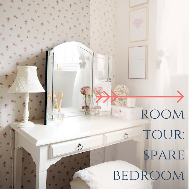 Room tour of my feminine pink spare bedroom with grey and gold interiors and floral decor