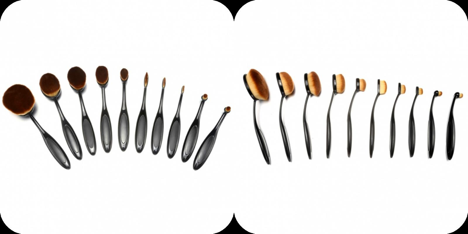 cae195bf130 1) New 10PCS Makeup Professional Foundation Brush Sets Facial Cream Powder  Toothbrush Shaped Brush Kit
