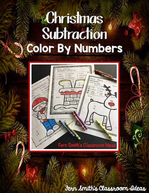 FIVE Color By Number Christmas Mixed Subtraction Facts!