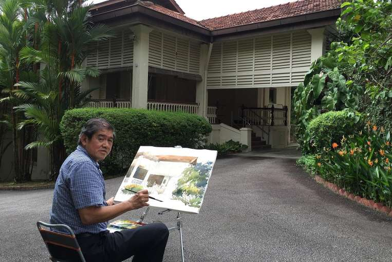 Paintings of late Mr Lee Kuan Yew's Oxley Road house in art show