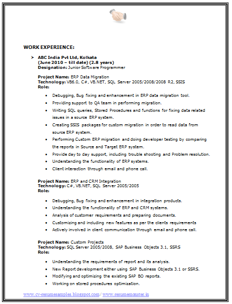 one page resume format doc
