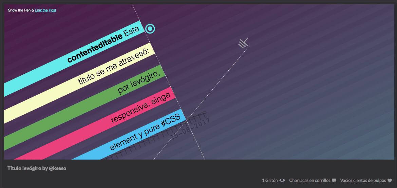 Este título se me atravesó: por levógiro, responsive, single element y pure #CSS