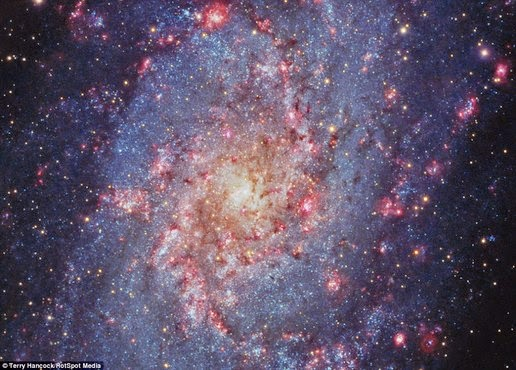This is the image of the Triangulum galaxy, a spiral galaxy is three million light years from Earth in the constellation Triangulum. These pictures were taken by amateur astronomer Terry Hancock