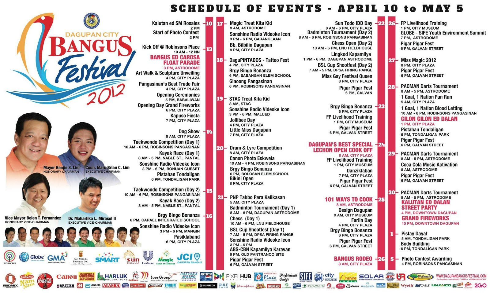 Official 2012 Dagupan City Bangus Festival Schedule of Events