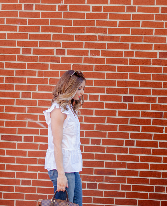 old navy white peplum top