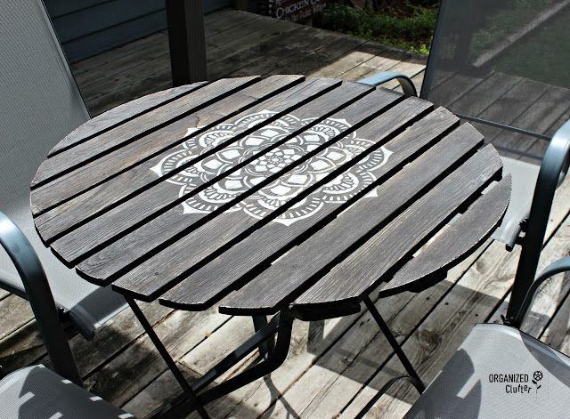 Mandala Stenciled Bistro Table organizedclutter.net