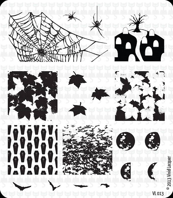 Lacquer Lockdown - Halloween, halloween nail art, halloween nail art stamping plates, nail art, nail art stamping ideas, holiday nail art, stamping plates, Vivid Lacquer, coffins, moons, leaves, dead leaves and the dirty ground