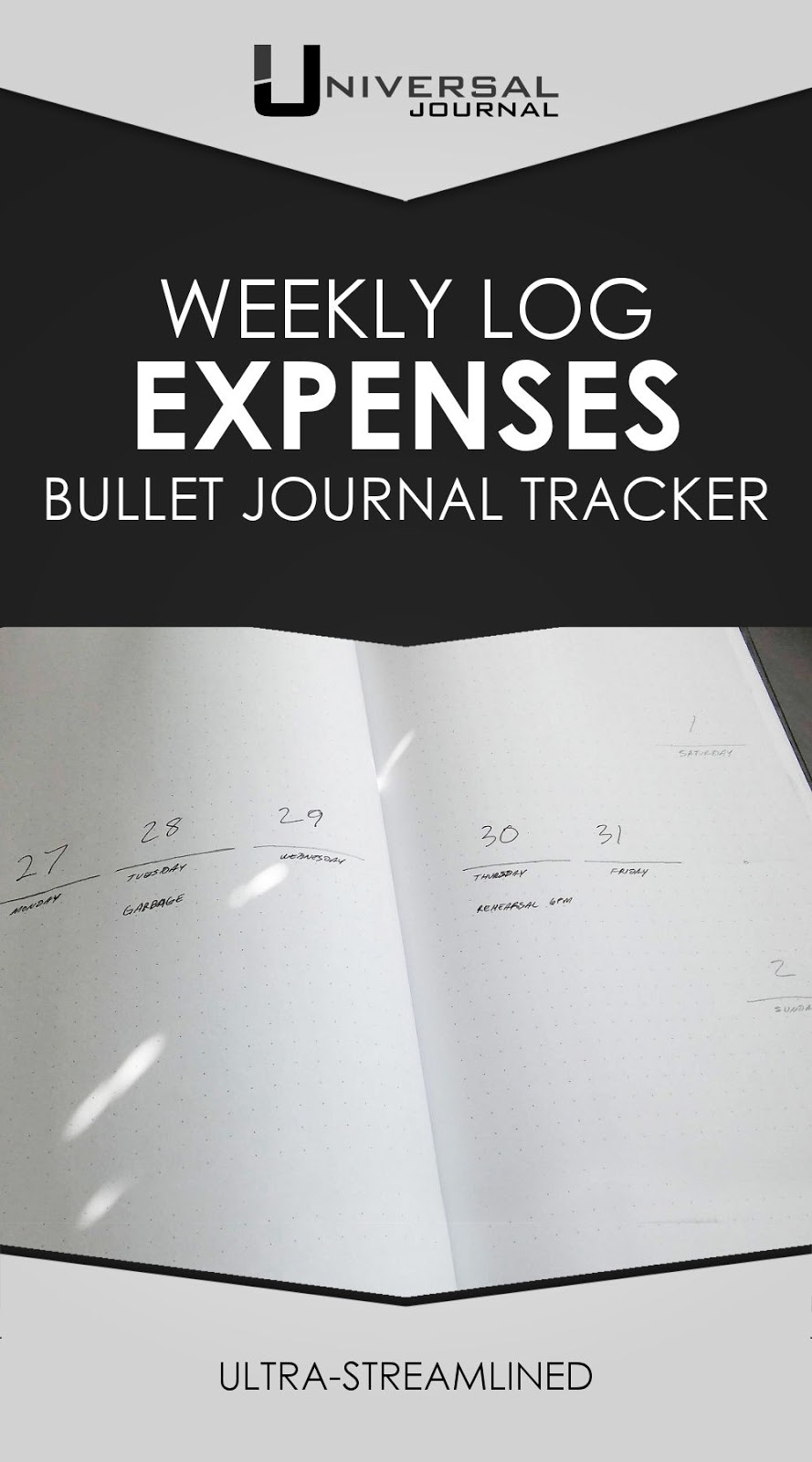 bullet journal weekly expenses tracker