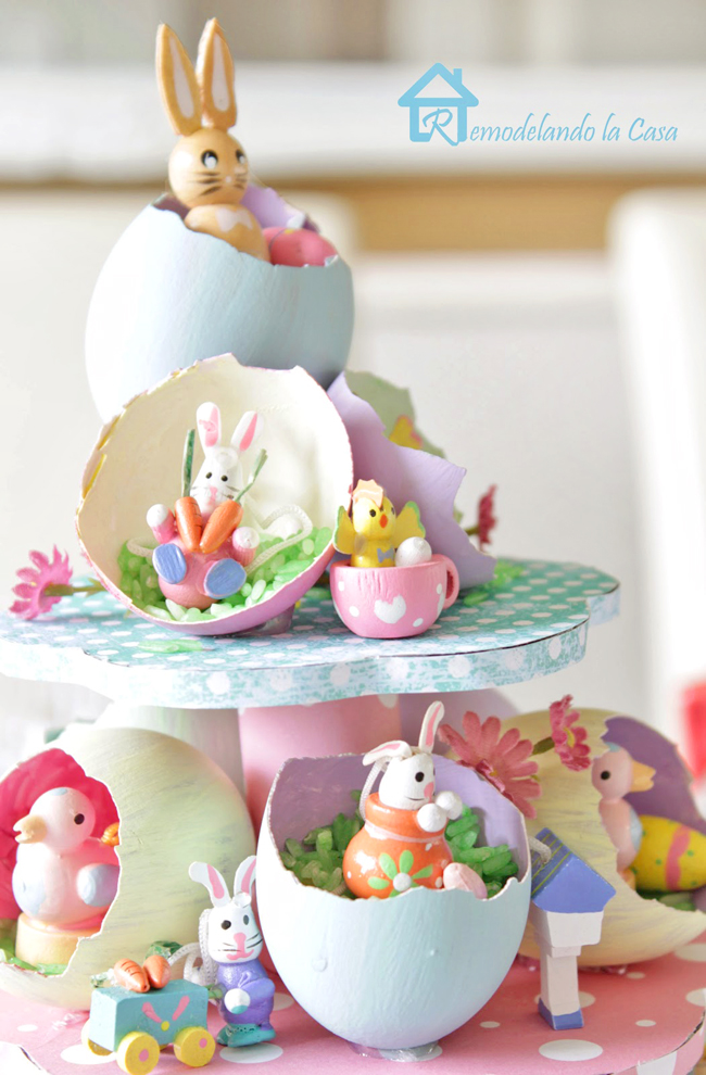 rabbits, birds, duck, chicks, carrots on Easter egg tree centerpiece