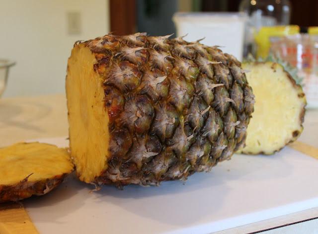 The First Step in Cutting Fresh Pineapple