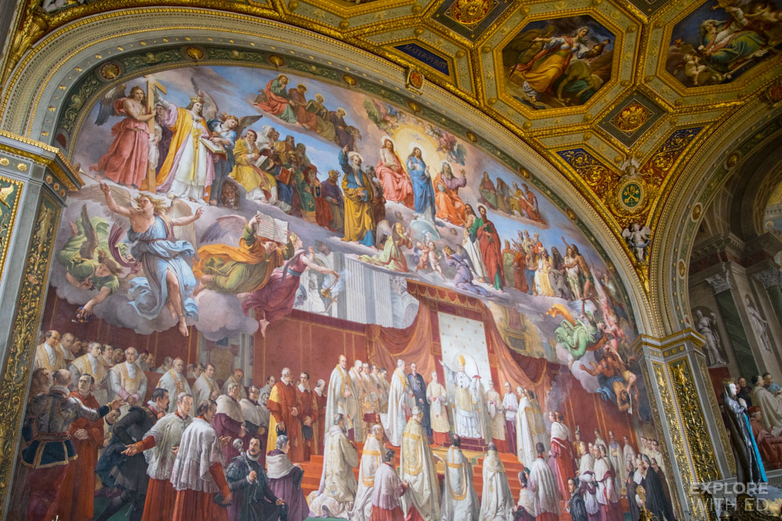 Beautiful religious paintings inside Vatican Museum