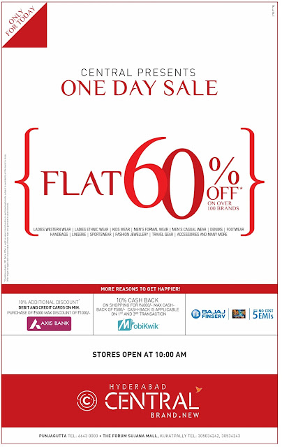 FLAT 60% OFF IN CENTRAL | ONLY FOR TODAY | JULY 2016 DISCOUNT OFFER