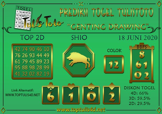 Prediksi Togel GENTING DRAWING TULISTOTO 18 JUNI 2020