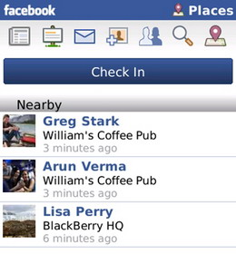 Facebook Places for BlackBerry now available