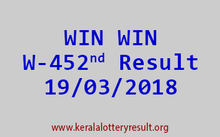 WIN WIN Lottery W 452 Results 19-03-2018
