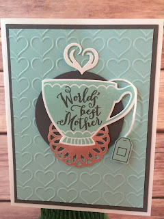 This blue coffee cup/tea cup card uses Stampin' Up!'s A Nice Cuppa stamp set and the Cups & Kettle Framelits Dies - both from the 2016 Occasions Catalog.  It also uses the Metallic Doilies.  www.stampwithjennifer.blogspot.com
