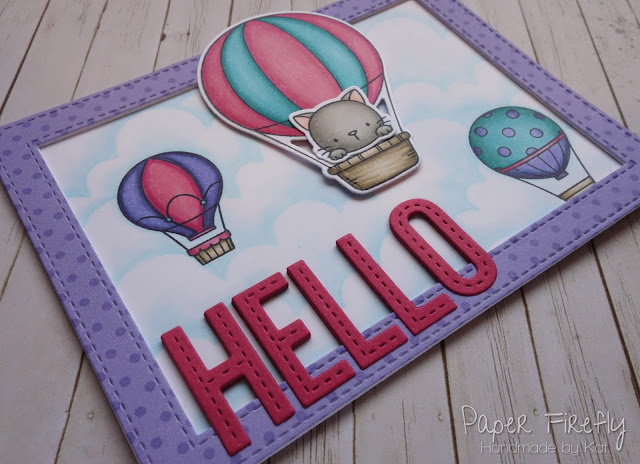 Hot air balloon card using MFT Up in the Air stamp and die sets