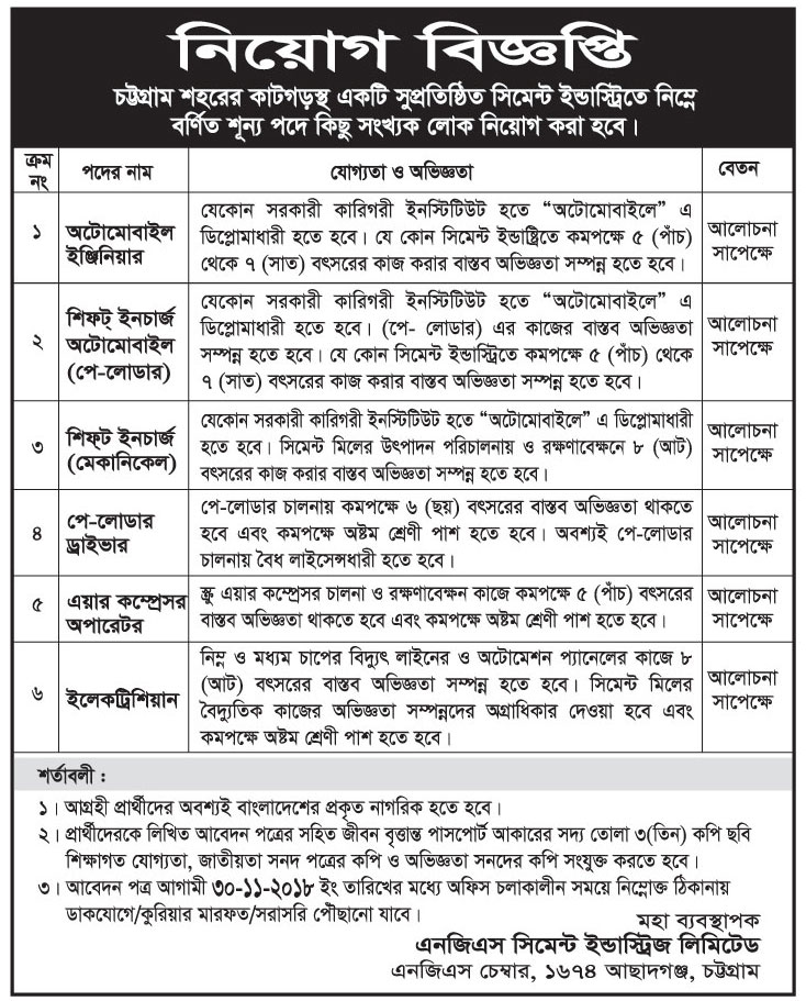 NGS Cement Industries Limited Job Circular 2018