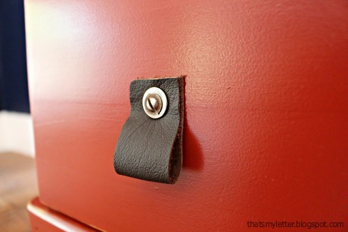 diy leather pulls detail