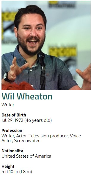 Wil Wheaton Net Worth - $500 Thousand ~ Vidloggest
