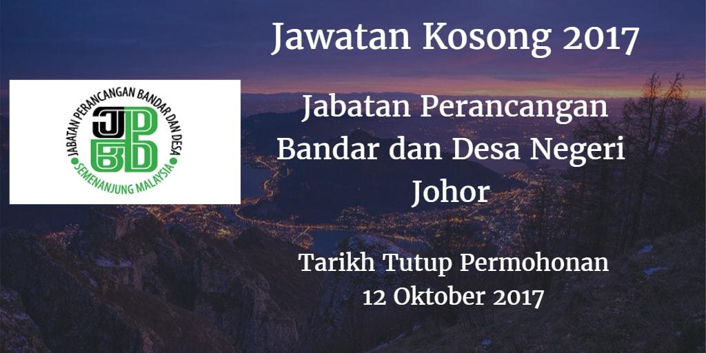 Jawatan Kosong Jabatan Perancangan Bandar dan Desa Negeri Johor 12 Oktober 2017