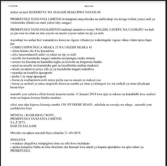 Job opportunities at Primefuels Tanzania ltd, Heavy truck Drivers (60 positions)