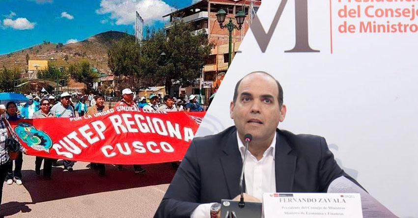 Si no se levanta la huelga de docentes, no habrá diálogo, aclara el primer ministro Fernando Zavala