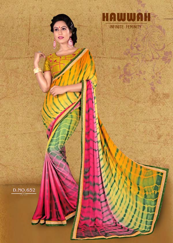 Hawwah 651-661 – Indian Women Exclusive Georgette Printed Saree Wholesale