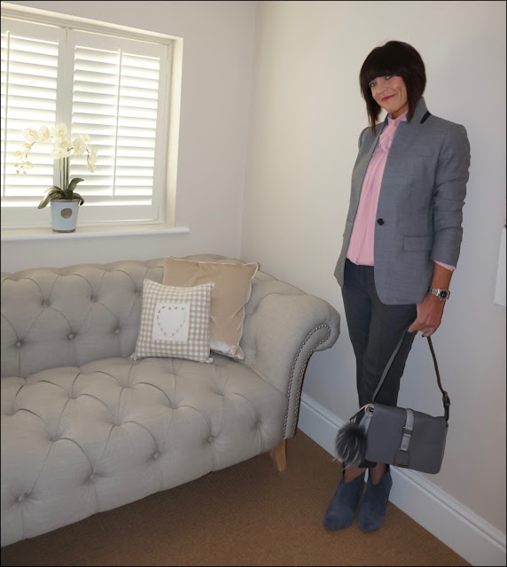 My Midlife Fashion, J Crew Regent Blazer, Bow blouse somerfield by alice temperley, hush thornton ankle boots, the white company oxford ulitmate trousers, village england fulmer bag