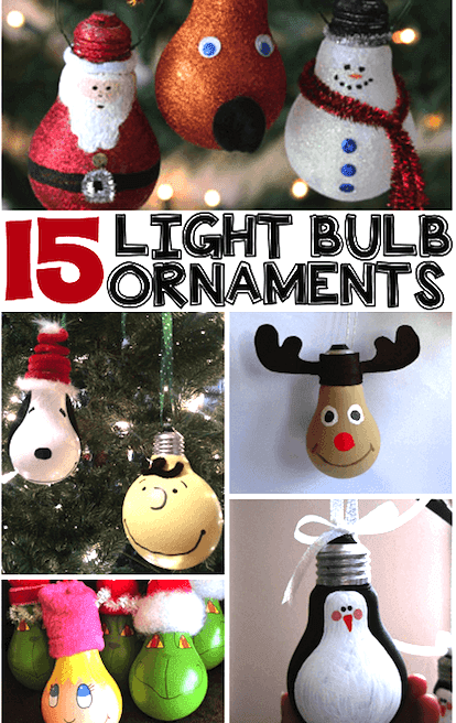 Light bulb ornaments for kids to make for Christmas gifts